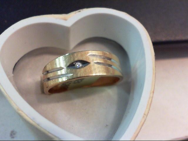 Gent's Gold-Diamond Wedding Band 0.01 CT. 14K Yellow Gold 4.5g Size:9.75