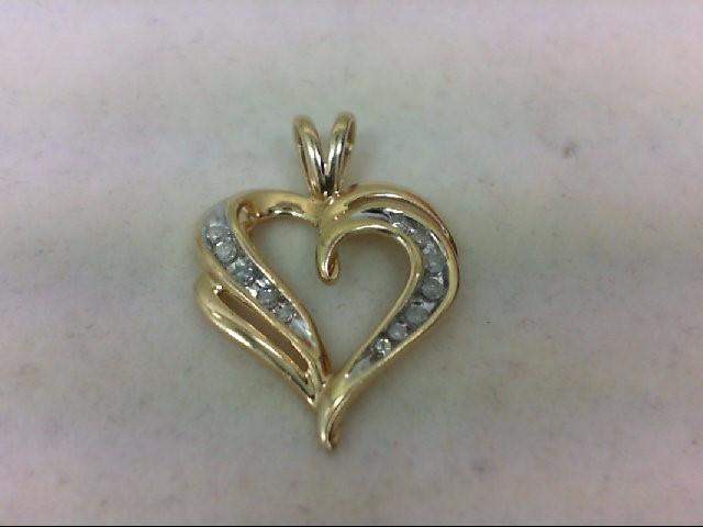 Gold-Multi-Diamond Pendant 12 Diamonds 0.36 Carat T.W. 10K Yellow Gold 1.7g