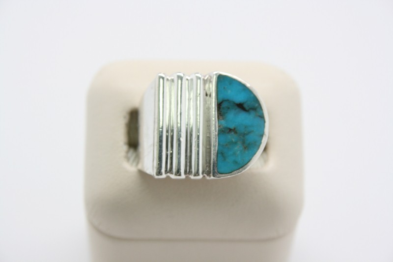 GENTS SILVER TURQUOISE RING