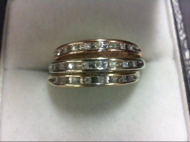 Lady's Diamond Fashion Ring 24 Diamonds 0.24 Carat T.W. 10K Tri-color Gold 4.5g