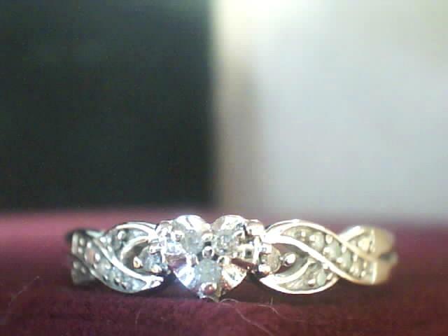Gent's Diamond Fashion Ring 5 Diamonds .016 Carat T.W. 10K White Gold 1.5dwt