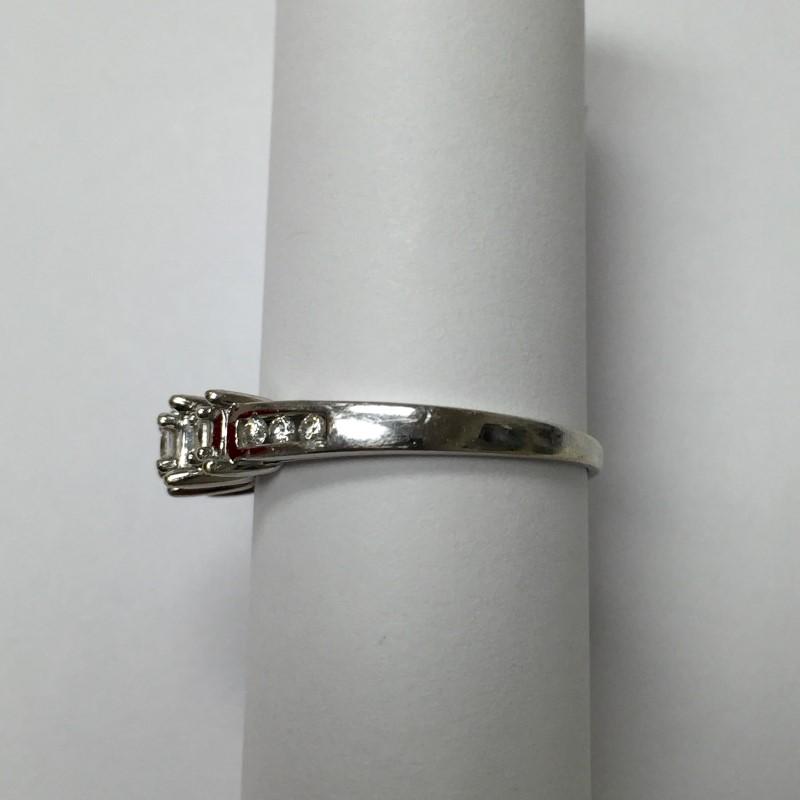 Lady's Diamond Engagement Ring 9 Diamonds .21 Carat T.W. 14K White Gold 1.5dwt