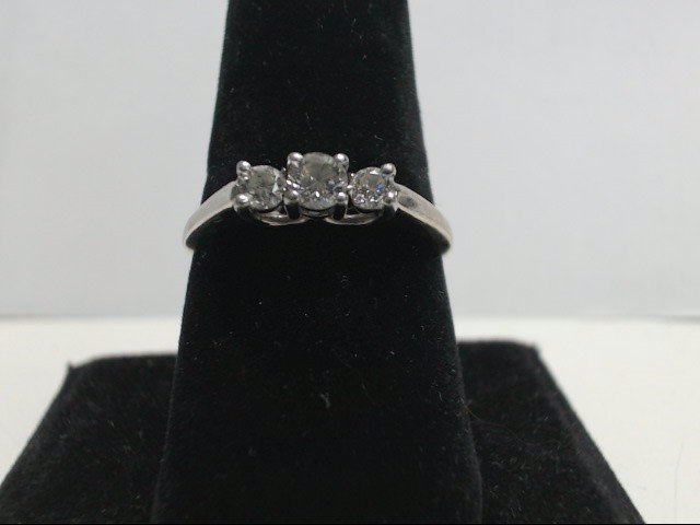 Lady's Diamond Fashion Ring 3 Diamonds 0.45 Carat T.W. 14K White Gold 3.01g