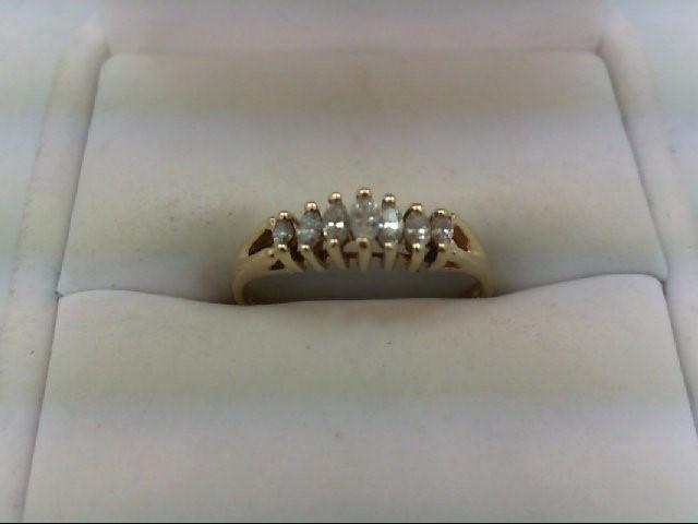 Lady's Diamond Wedding Band 7 Diamonds 0.25 Carat T.W. 14K Yellow Gold 2.1g