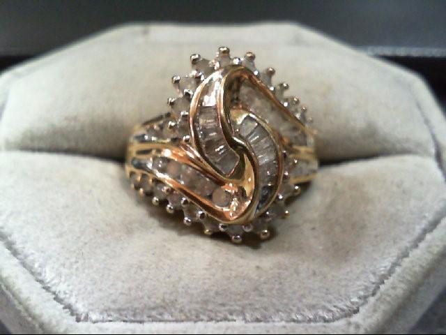 Lady's Diamond Cluster Ring 42 Diamonds 1.12 Carat T.W. 10K Yellow Gold 5.8g