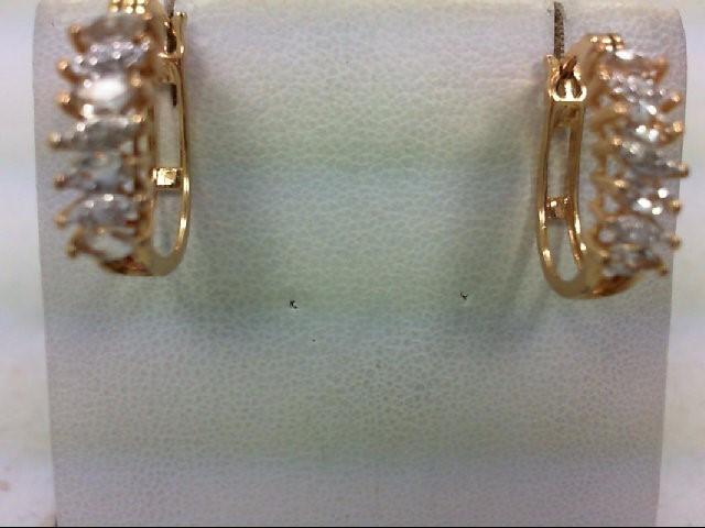 Cubic Zirconia Silver-Stone Earrings 925 Silver 2.9g