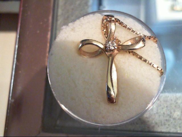 Gold-Diamond Solitaire Pendant 0.01 CT. 14K Yellow Gold 3.4g