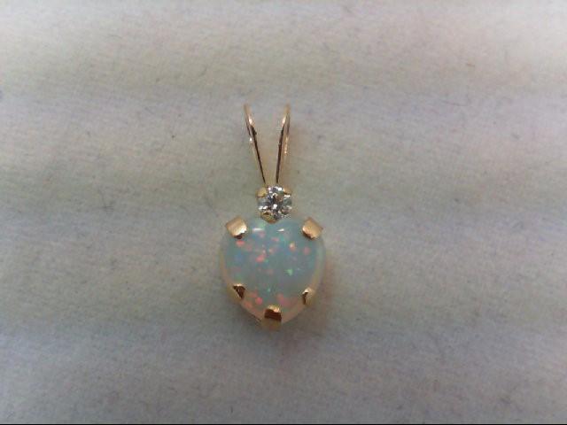 Opal Gold-Stone Pendant 10K Yellow Gold 0.2g