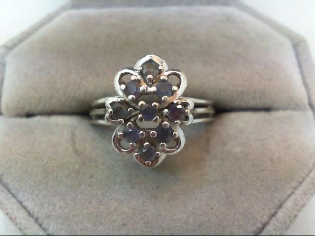 Emerald Lady's Stone Ring 14K White Gold 4.2g