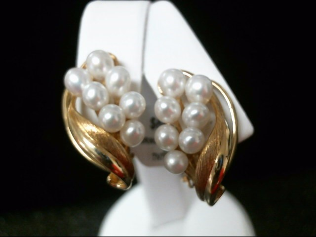 Synthetic Pearl Gold-Stone Earrings 14K Yellow Gold 9.3g