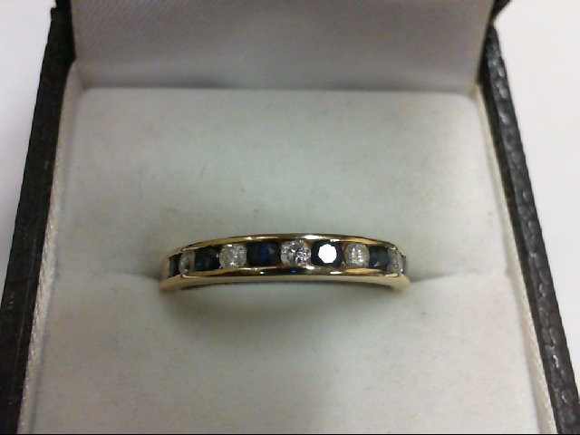 Sapphire Lady's Stone & Diamond Ring 5 Diamonds 0.25 Carat T.W. 14K Yellow Gold