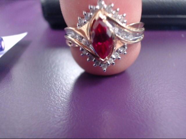 Synthetic Ruby Lady's Stone & Diamond Ring 20 Diamonds 0.2 Carat T.W. 10K Yellow