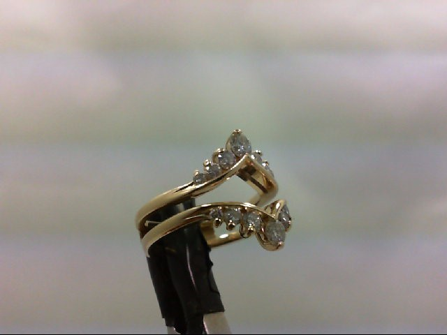 Lady's Gold-Diamond Ring Guard 8 Diamonds 0.42 Carat T.W. 14K Yellow Gold 4.7g