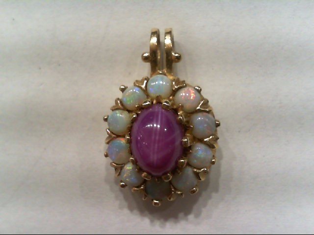 Synthetic Pink Sapphire Gold-Stone Pendant 14K Yellow Gold 2.9g