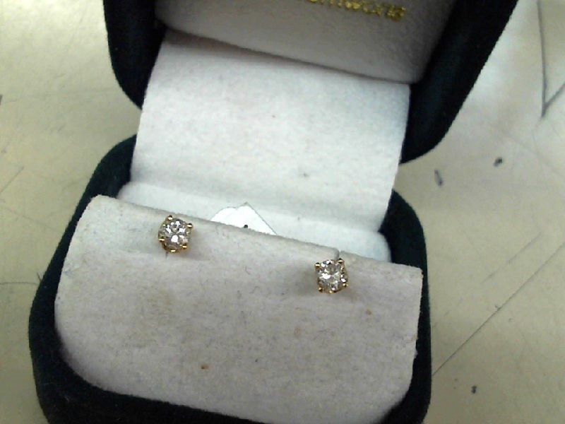 Gold-Diamond Earrings 2 Diamonds .24 Carat T.W. 14K Yellow Gold 1g