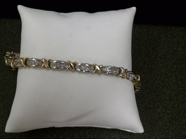 Gold-Diamond Bracelet 80 Diamonds 1.60 Carat T.W. 10K 2 Tone Gold 13.6g
