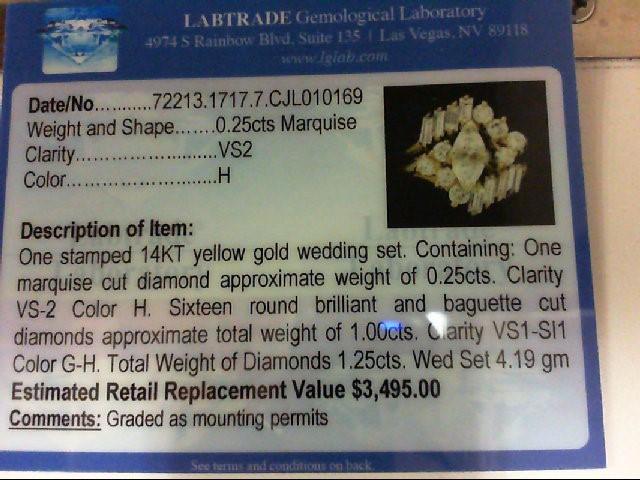 Lady's Diamond Wedding Set 17 Diamonds 1.25 Carat T.W. 14K Yellow Gold 4.19g