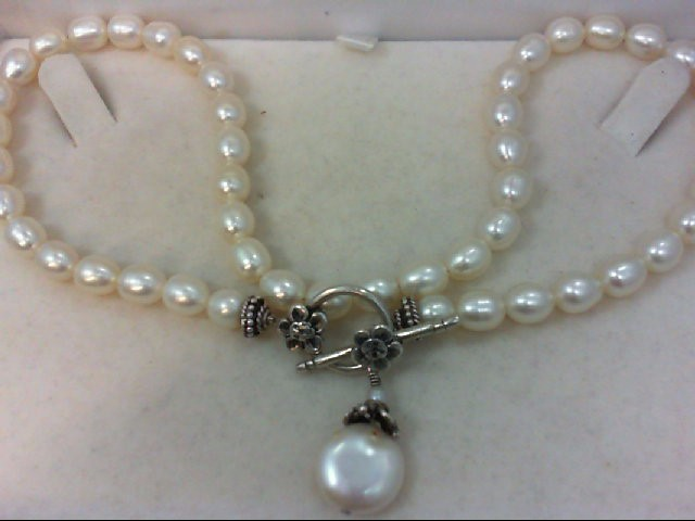 "16"" Pearl Strand Stone Necklace 925 Silver 29g"