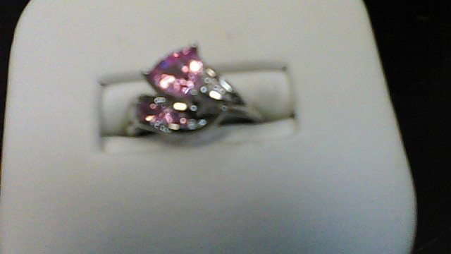 Pink Stone Lady's Stone Ring 10K White Gold 2.04g Size:5.5