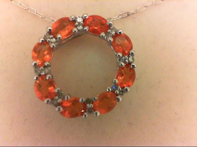 Synthetic Orange Stone Silver-Diamond & Stone Pendant 8 Diamonds 0.08 Carat T.W.