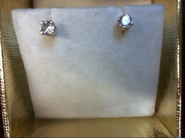 Gold-Diamond Earrings 2 Diamonds 0.2 Carat T.W. 14K Yellow Gold 0.4g