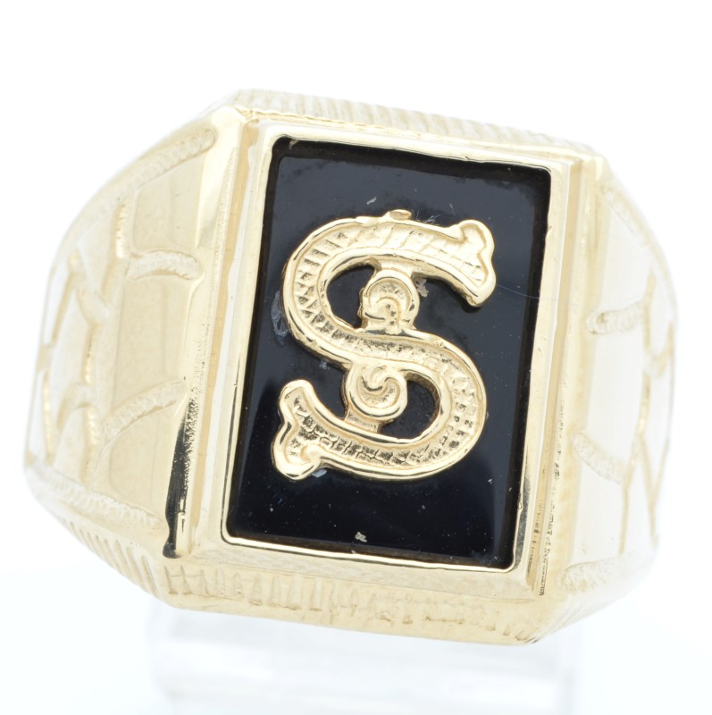 DOLLAR SIGN $ BLACK ONYX RING SOLID 14K GOLD MEN BLING MONEY SIZE 12