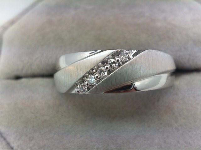 Gent's Gold-Diamond Wedding Band 5 Diamonds 0.1 Carat T.W. 10K White Gold 5.1g