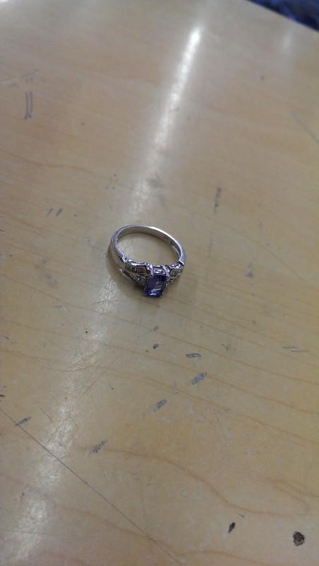 Synthetic Tanzanite Lady's Stone & Diamond Ring 26 Diamonds .26 Carat T.W.