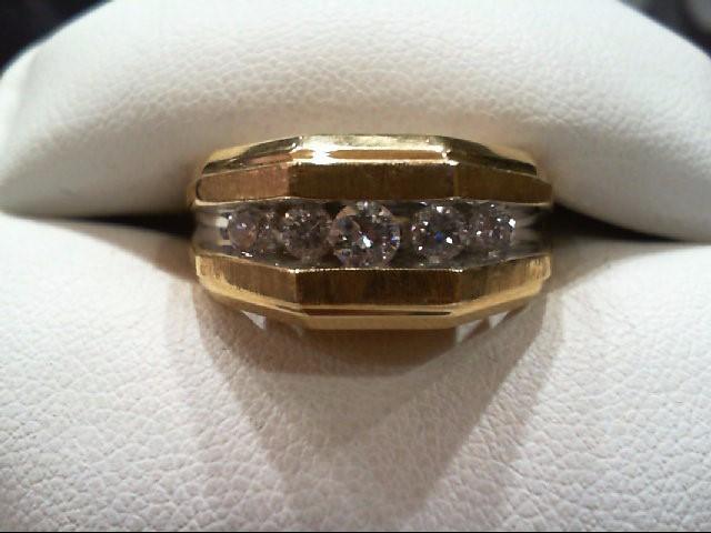 Gent's Gold-Diamond Wedding Band 5 Diamonds .51 Carat T.W. 14K Yellow Gold 8.1g