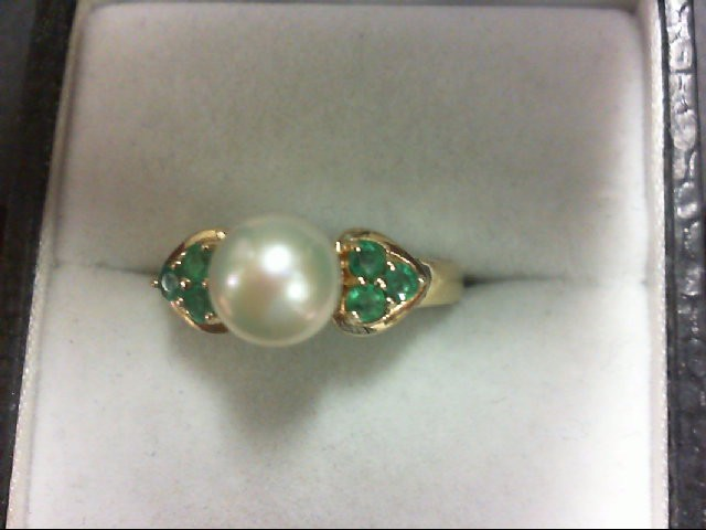 Pearl Lady's Stone Ring 10K Yellow Gold 2.4g