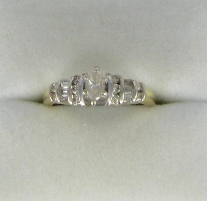 Lady's Diamond Engagement Ring 17 Diamonds .41 Carat T.W. 14K Yellow Gold