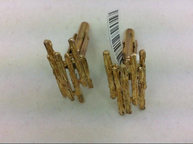 Petrified Wood Cuff Links 14K Yellow Gold 10.9g