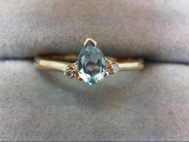 Aquamarine Lady's Stone & Diamond Ring 2 Diamonds .02 Carat T.W.