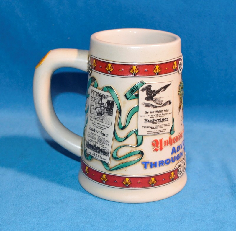 ANHEUSER-BUSCH ADVERTISING THROUGH THE DECADES BEER STEIN #09049 3RD IN SERIES