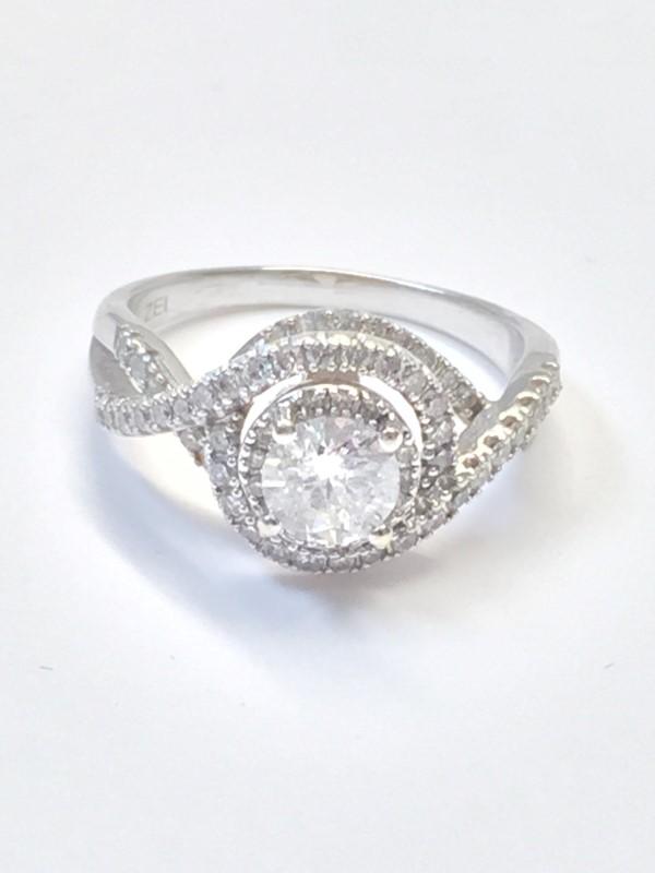 Lady's Diamond Engagement Ring 53 Diamonds 1.24 Carat T.W. 14K White Gold