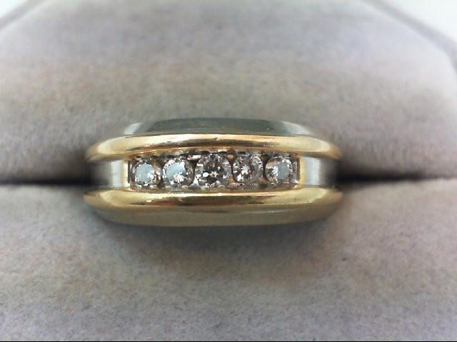 Lady's Diamond Wedding Band 5 Diamonds .29 Carat T.W. 14K 2 Tone Gold 5.6g