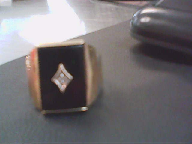Synthetic Onyx Lady's Stone & Diamond Ring .005 CT. 10K Yellow Gold 6.4g