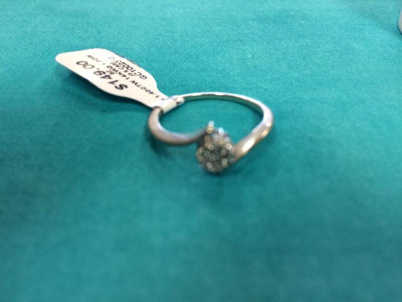 Lady's Diamond Cluster Ring 7 Diamonds 1.40 Carat T.W. 14K White Gold 1.3dwt