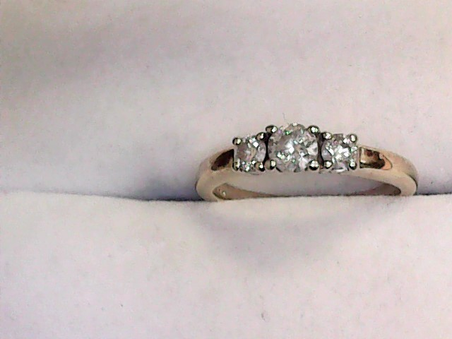 Lady's Diamond Engagement Ring 3 Diamonds .55 Carat T.W. 14K Yellow Gold 2.1dwt