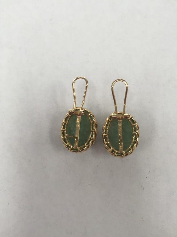 Jade Gold Earrings 14K Yellow Gold 13.6g