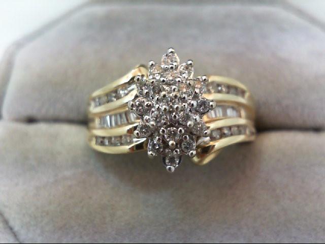 Lady's Diamond Cluster Ring 47 Diamonds 0.47 Carat T.W. 10K Yellow Gold 5.2g