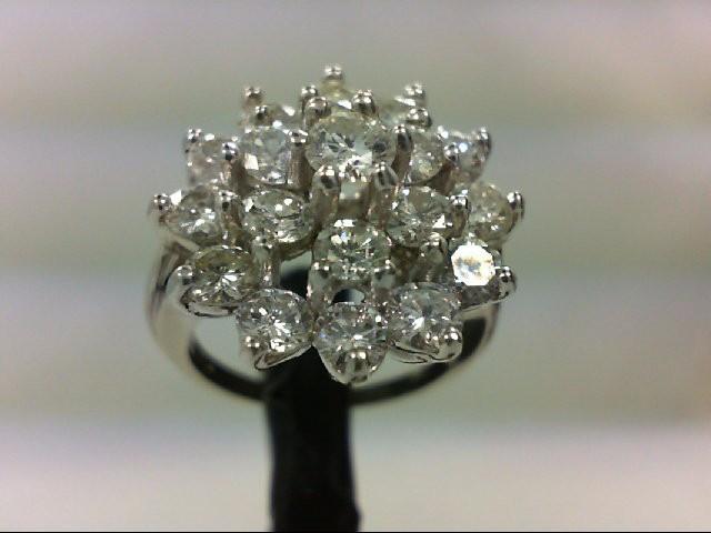Lady's Diamond Cluster Ring 20 Diamonds 3.62 Carat T.W. 14K Yellow Gold 6.33g