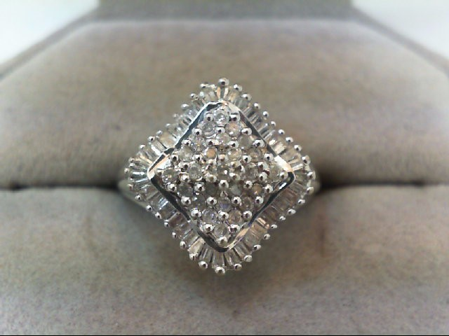 Lady's Silver-Diamond Ring 25 Diamonds .26 Carat T.W. 925 Silver 4g
