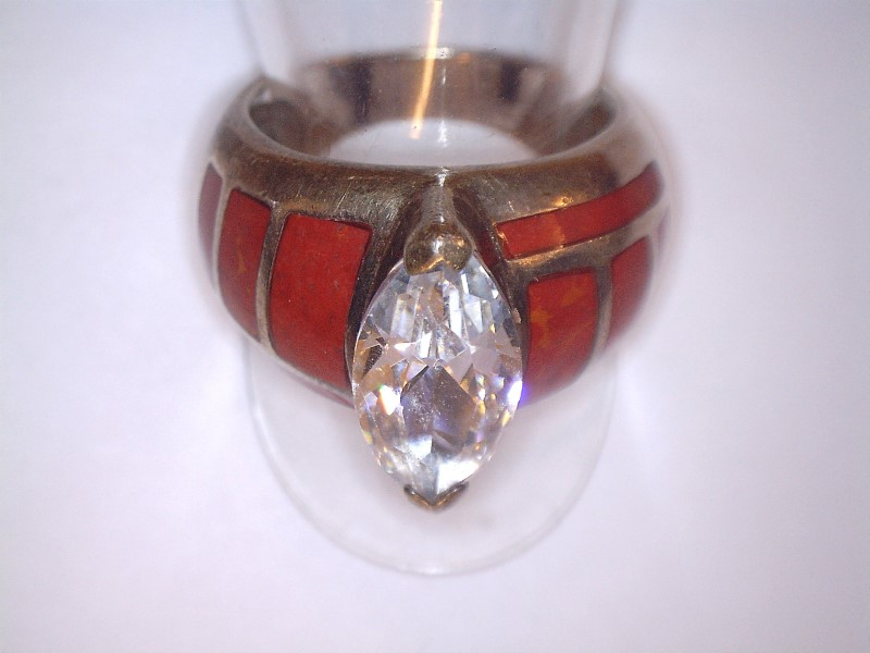 Cubic Zirconia Lady's Silver & Stone Ring 925 Silver 6.53dwt Size:7.5