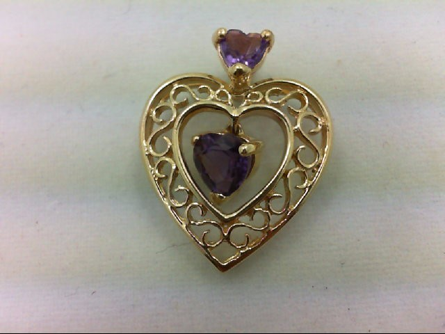 PENDANT AMETHYST HEART 10K Yellow Gold 1.6g