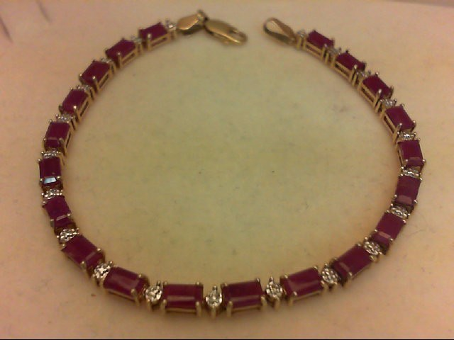 Ruby Gold-Stone Bracelet 10K Yellow Gold 7g