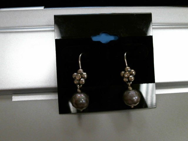Synthetic Pearl Silver-Stone Earrings 925 Silver 2dwt