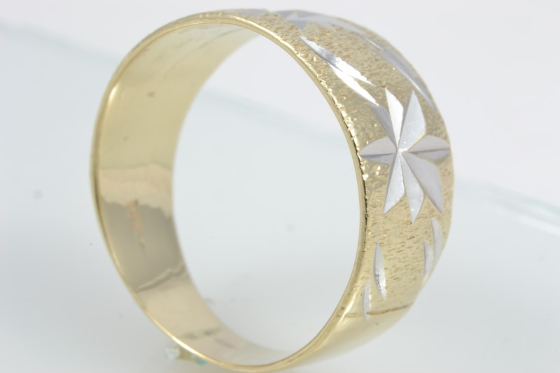 ESTATE STAR BURST RING BAND SOLID 14K YELLOW GOLD BRUSH SIZE 6.25