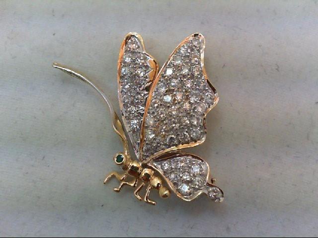 Gold-Diamond-Butterfly Brooch 50 Dias 1.00 Carat T.W. w/ Emerald 18K Yellow Gold