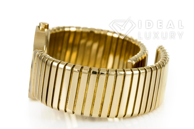 $20,400 Bulgari Ladies Tubogas 18k Yellow Gold Quartz Dress Watch BB 26 2T